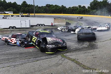 Anderson Motor Speedway 2018 Lap 1 Ten-Car Wreck
