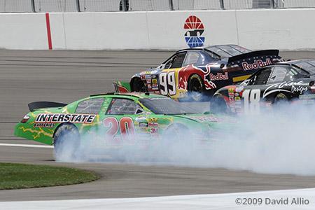 Las Vegas Motor Speedway 2009 Denny Hamlin Kyle Busch Scott Speed