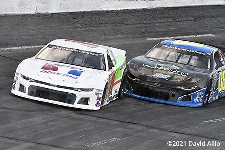 Orange County Speedway 2021 Josh Berry leads Deac McCaskill