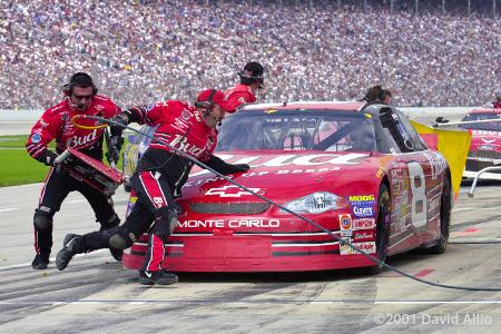 Texas Motor Speedway 2001 Dale Earnhardt Jr Chevrolet Monte Carlo pit stop NASCAR Winston Cup Series