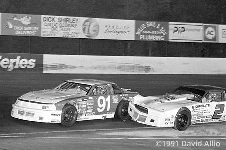 Ace Speedway 1991 Dennis Setzer Chevrolet fender bangs Donnie York Buick Winston 75 NASCAR Winston Racing Series Late Model Stock Car