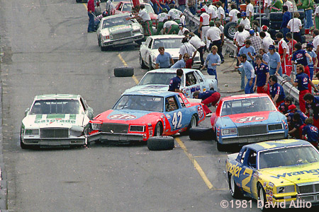 Bristol International Raceway 1981 Kyle Petty Buick Ricky Rudd Buick collide pit road 21st Annual Valleydale 500 NASCAR Winston Cup Grand National Series