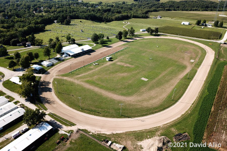 Brown County Fairgrounds Mount Sterling Illinois short track dirt oval aerial photograph 2021