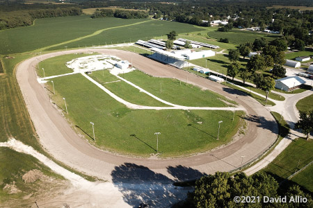 Schuyler County Fairgrounds Rushville Illinois aerial photograph short track dirt oval 2021